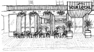 concept sketch of proposed exterior facade for Your Local