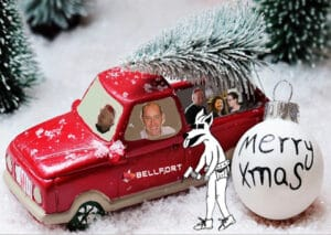 The Bellfort team driving in their Christmas car